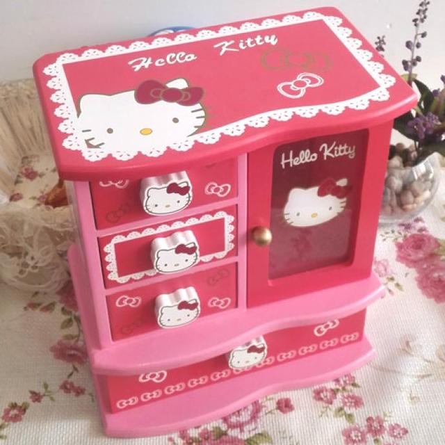 Jewelry Box Makeup Organizer Hello Kitty Casket Girl Gift Ring