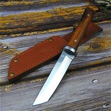 PEGASI japonés 9CR18MOV cuchillo de pesca de autodefensa al aire libre cuchillo de caza de la selva cuchillo táctico afilado al aire libre + cubierta de cuero