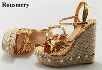 Bayanlar Yaz Düğümlü Süper Yüksek Saman Sole Kama Sandalet Altın Siyah Inci Mozaik Topuk Sandalet Spike Sandalet Elbise Ayakkabı