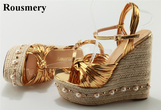 b5a3957e1e719 Ladies Summer Knotted Super High Straw Sole Wedge Sandals Gold Black Pearl  Mosaic Heel Sandals Spike