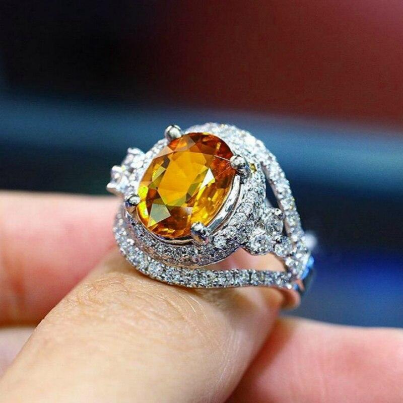 New hot fashion champagne yellow zircon ring female wedding jewelry ring