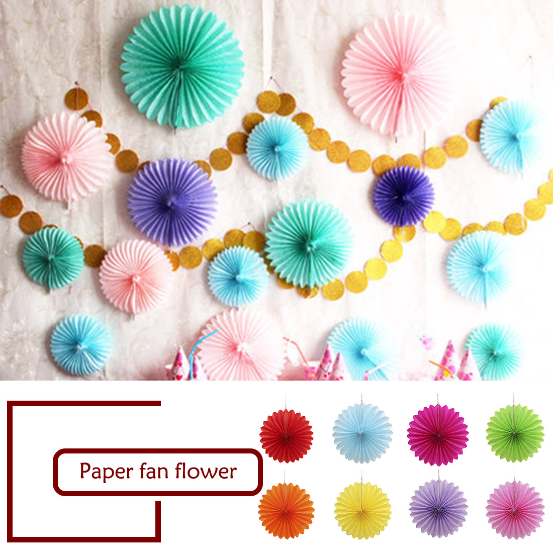 New 5pcs Tissue Paper Fan Diy Crafts Hanging Wedding: Hanging Tissue Paper Flower Decorative Wedding Party DIY