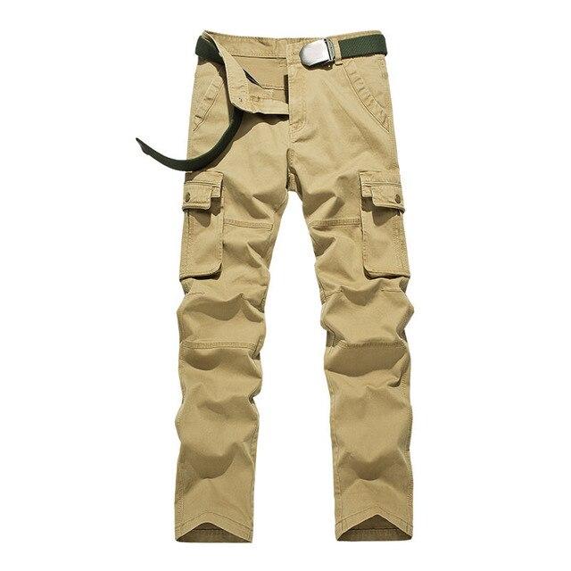 Размер 29-38 2016 Лето Осень Повседневная Мужчины Классический Cargo Pants 100% Хлопок Твердые Карманный Длинные Брюки Мужские 4 Стиль цвета