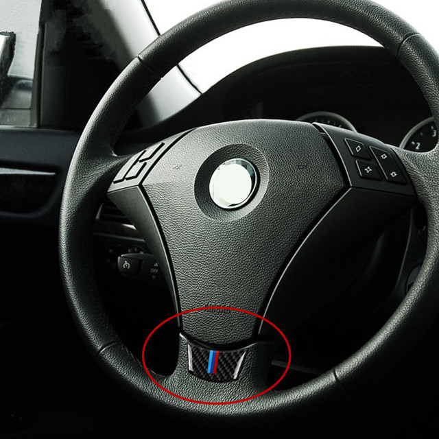 Car Interior Steering Wheel Decorative Cover Trim Sport Carbon Fiber Strip For BMW