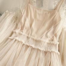 New Arrivals Women Lace Flower Dress Long Gauze Lantern Sleeve Voile Long Dress Female Retro Hook Princess Dress