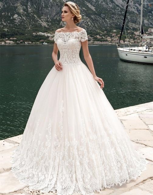 Robe de mariage Nuevo Diseo Largo Vestido de Novia 2017 Barco de