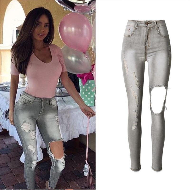 Boyfriend Jeans Women Pencil Pants High Waist Skinny Jeans For Female Jeans Hole Brand Designer Sexy
