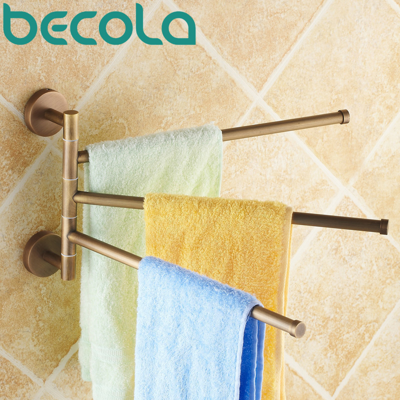 Free shipping antique brass 360 Degree Rotation Towel Rack Three Layer Activities Towel Bar Bathroom Accessories B-88013 stainless steel bathroom towel rack rotation activities bar single pole double hanging three bathrooms