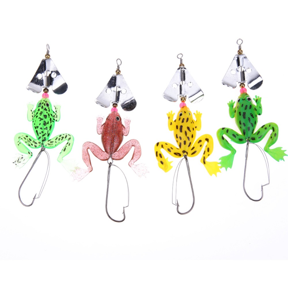 4pcs/Lot Frogs Fishing Lure Set Rubber Soft Fishing Lures Bass Spinner Bait spoon Lures carp Fishing Tackle carbon Steel Hook