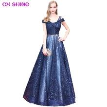 CX SHINE NEW custom Gray Navy Wine V neck bling long evening dresses champagne robe de soiree prom party runway dress Vestidos
