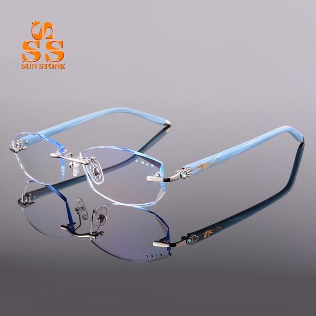 2016 Women Fashion Rimless Diamond Cutting Optics Glasses With Diopter Titanium Alloy Optical Eyewear Filling Prescription F136