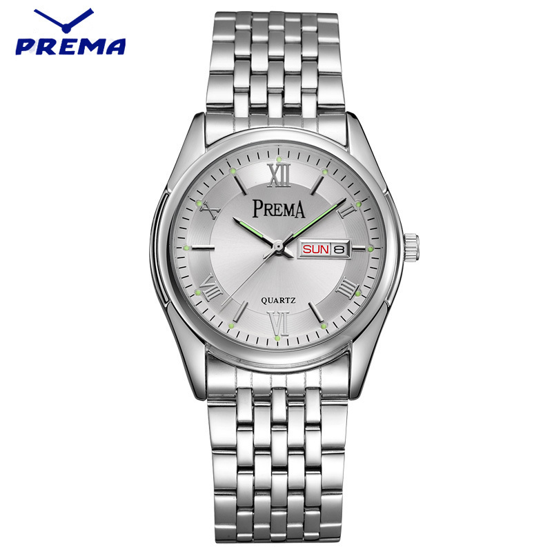 Watch Men PREMA Quartz Reloj Hombre Stainless Steel Watch Band Roman Numeral Big Dial Calendar Display Relogio Masculino reloj hombre wishdoit quartz watch men