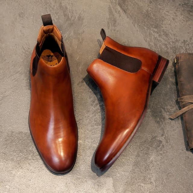 2019 homens de couro genuíno botas outono inverno tornozelo botas moda calçados deslizamento em sapatos homens negócios casuais alta superior sapatos - 2