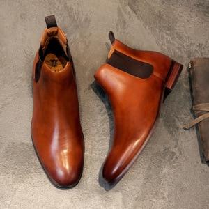 Image 2 - 2020 Echt Leer Mannen Laarzen Herfst Winter Enkellaars Mode Schoenen Slip Op Schoenen Mannen Business Casual Hoge Top Mannen schoenen