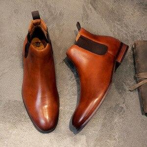 Image 2 - 2020 prawdziwej skóry mężczyzn buty jesień zima botki moda obuwie Slip on buty mężczyźni Business Casual High Top mężczyźni buty