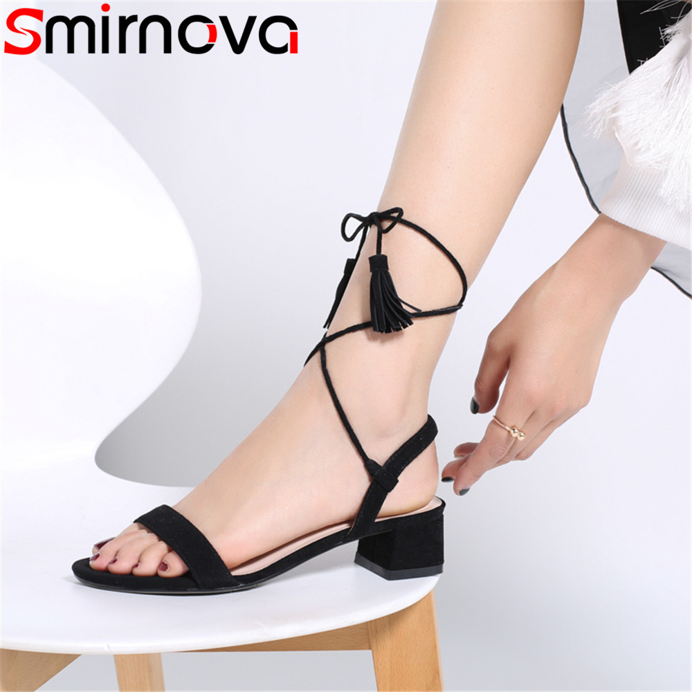 Smirnova black red fashion 2018 new shoes woman cross tied square heel sandals women suede leather med heels shoes