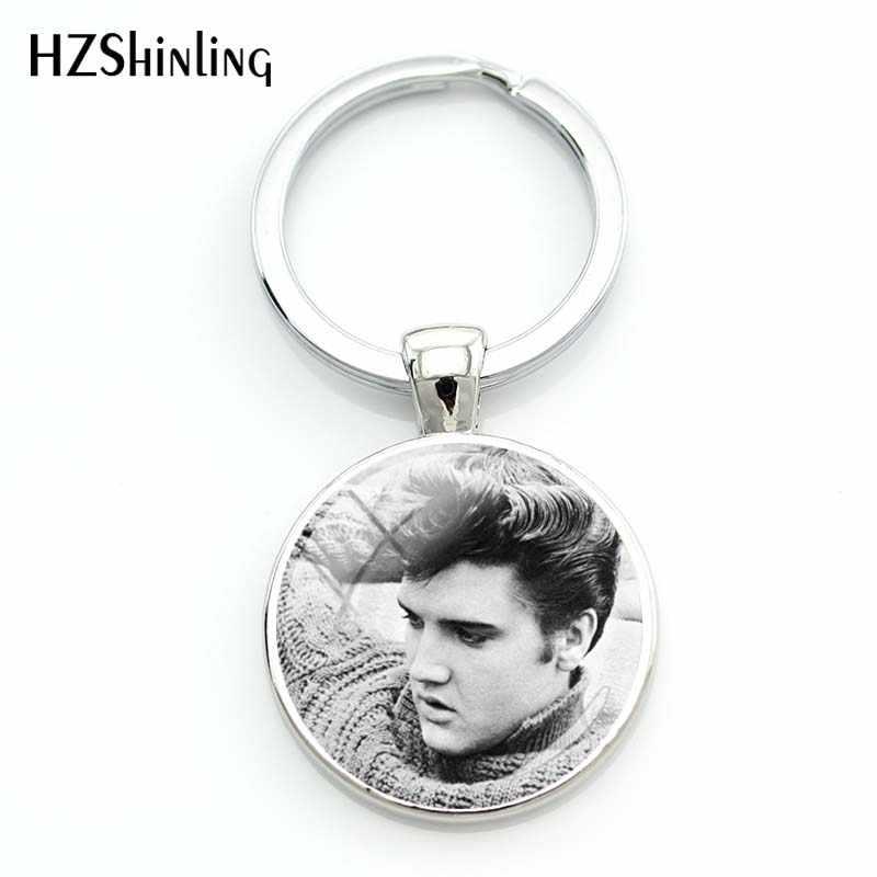 Baru Fashion Elvis Presley Silver Gantungan Kunci Kerajinan Tangan Kubah Kaca Musik Rock Singer Perhiasan Bulat Bintang Jantung Bentuk Gantungan Kunci