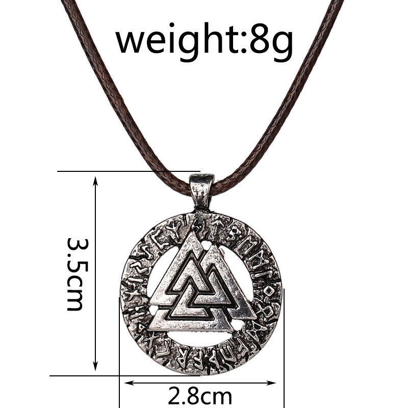 pagan amulet pendant Men necklace Scandinavian Viking jewelry Odin 's Symbol of Norse Viking Warrior Slavic Norway Valknut 1