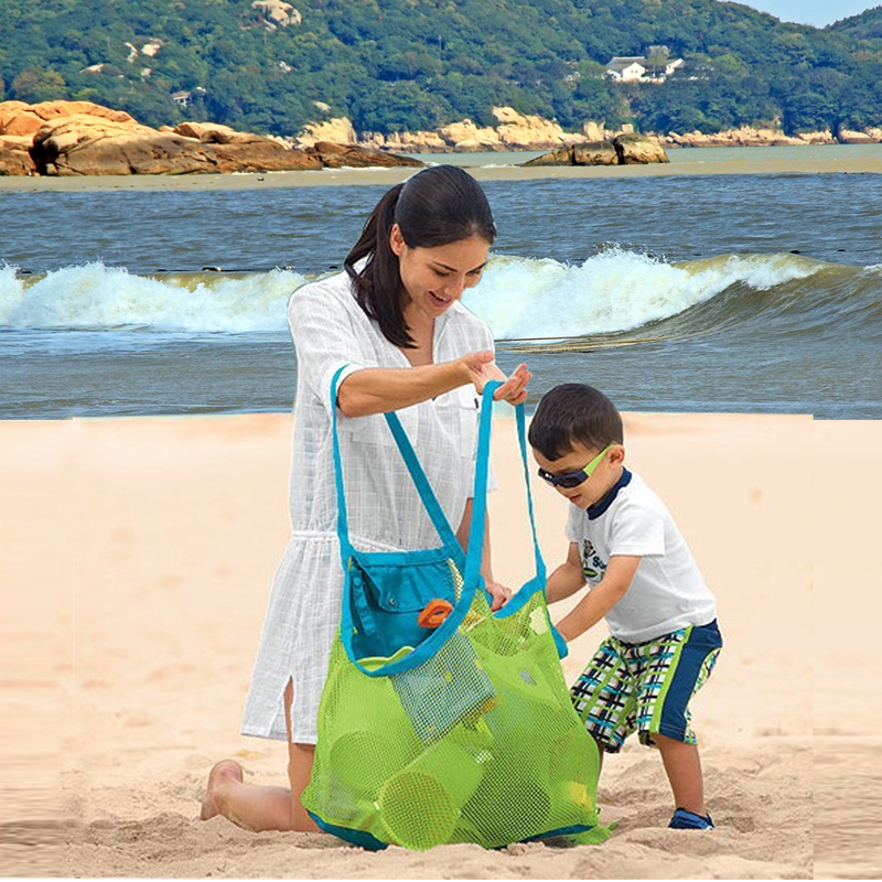 Portable Foldable Kids Beach Toys Mesh Bag Children Bath Beach Toys Pouch Bag Child Baby Large Mesh Tote Baskets Storage Bag