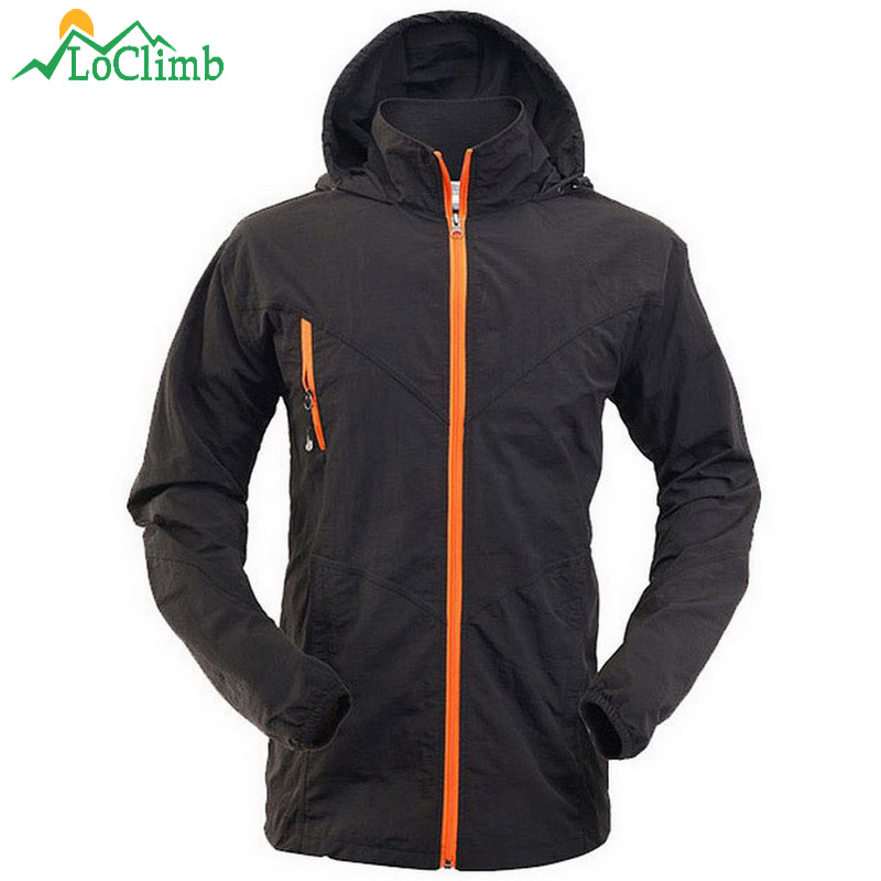 LoClimb Anti-UV Thin Camping Hiking Jackets Men Summer Waterproof Clothes For Tourism Outdoor Trekking Sport Hooded Jacket,AM099