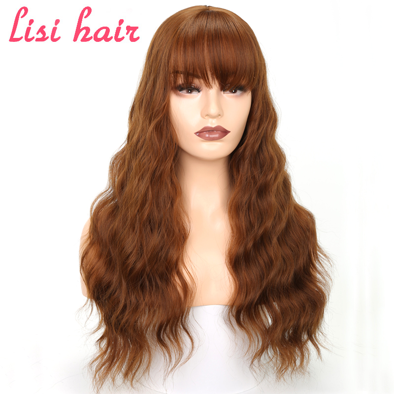 """Lisi Hair 26"""" Long Mix Brown Womens Wigs With Bangs Water Wave Heat Resistant Synthetic Wigs For Women African American"""