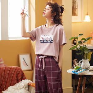 Image 3 - Pijamas femininos de algodão, pijamas tricotados para mulheres, manga curta, gola redonda, tamanho grande M XXL