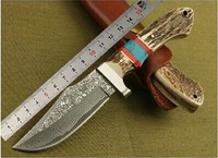 Damascus steel 58HRC antlerblade knife Serve with double colour wooden handle survival tactical kKeel collection giftfixed knife
