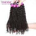 Yvonne Brasileiro Kinky Curly Virgem Cabelo, 3 Pçs/lote Pacotes Tecer Cabelo Brasileiro, Top Qualidade Aliexpress 100% Humano de Remy cabelo