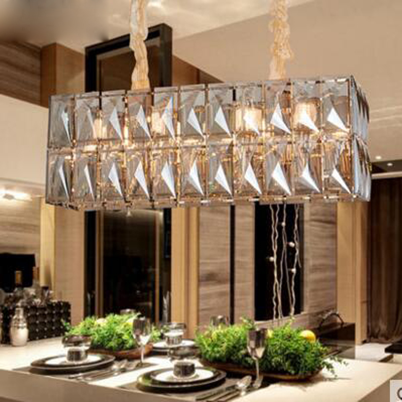 Crystal Restaurant Chandelier Rectangular Hong Kong Style Nordic Postmodern Light Luxurious Atmosphere Bedroom Living Room Lamps eiceo european style living room lamps bedroom lights atmosphere restaurant lighting chandelier led pendant lamp light