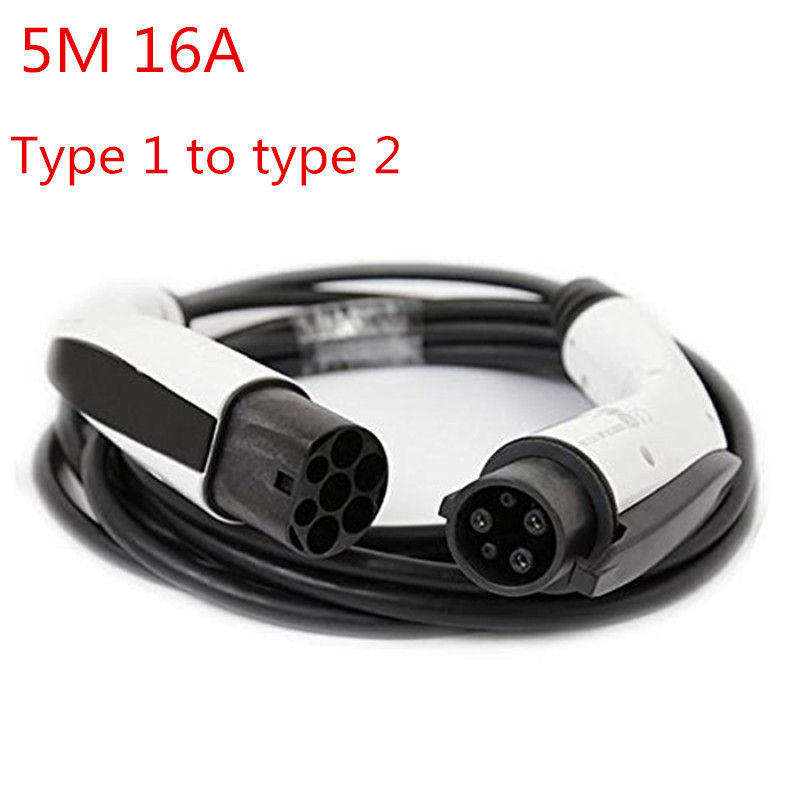 EV Charger 16A SAE J1772 To IEC 62196-2 Type 1 To Type 2 Plug Adapter Connector 5m Cable for Electric Vehicle Charging Station ev charging station power out outlets socket for electrical vehicle charging leads with 1m cable ev charging point
