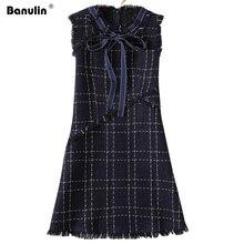 цены New 2019 Winter Woolen Tweed Brand Dress Women's Sleeveless Tassel Fringed Trim Plaid Bow Vest Dress Ladies Mini A Line Dress