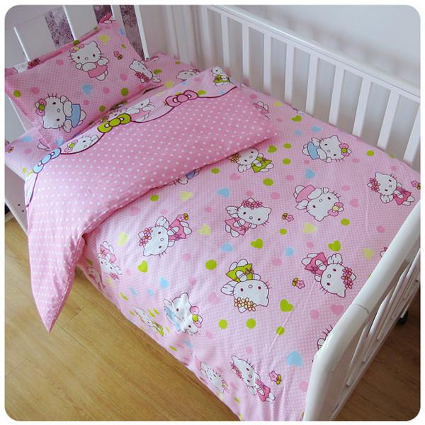 Promoção! 3 PCS Kitty Mickey conjunto Fundamento do bebê berço berço cama 100% cottotton, (Capa de Edredon + Folha + Fronha)