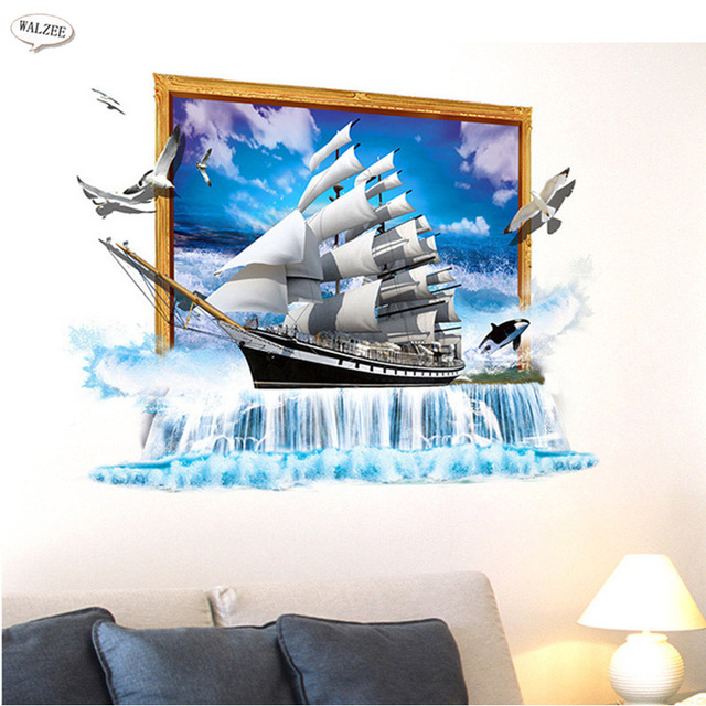 Sailing Boat Decoration Of The Sea Waterfall D Sticker Bathroom - Boat themed bathroom