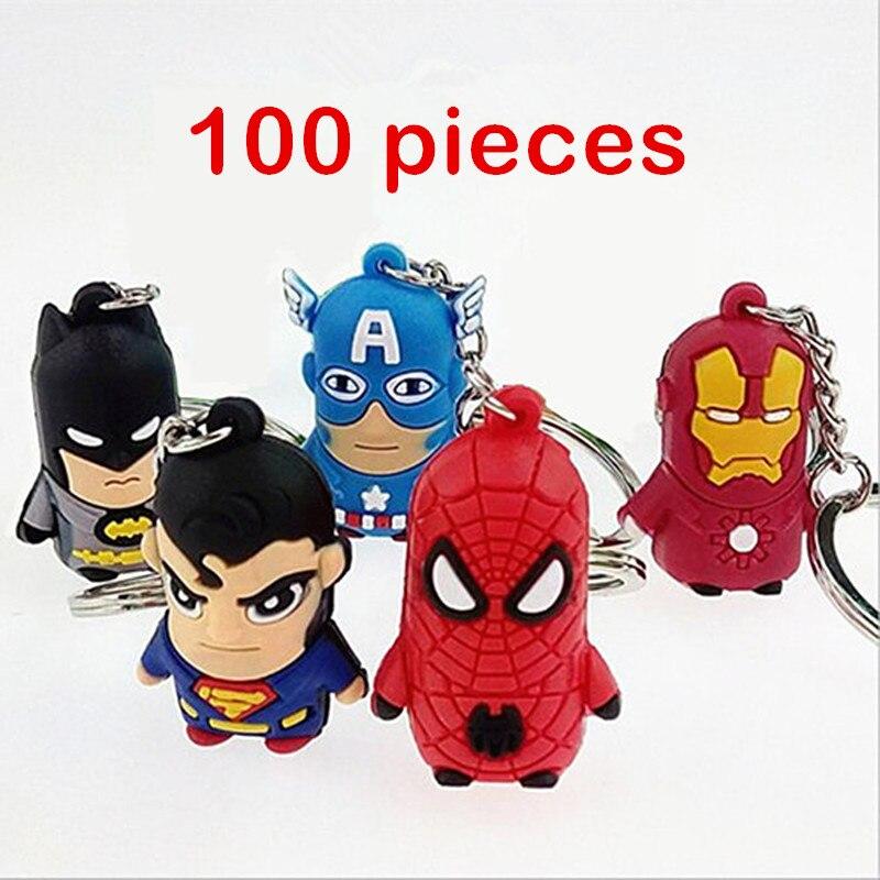 100pcs 3D Spider Man Captain America Batman Iron Man Superman Keychains Keyring Key Chain Cartoon Moive