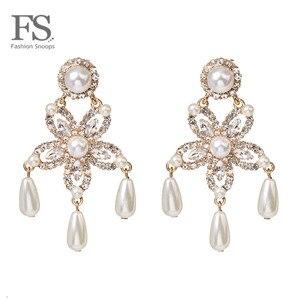 Модные Эффектные серьги со стразами для женщин, роскошные висячие серьги с искусственным жемчугом и кристаллами, модные ювелирные изделия