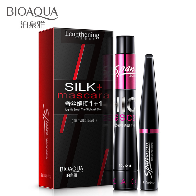 BIOAQUA Brand 2 in 1 false eyelashes + Mascara 3D Fiber Makeup eyelashes Lengthening mascara Volume Express Maquiagem Eyelash