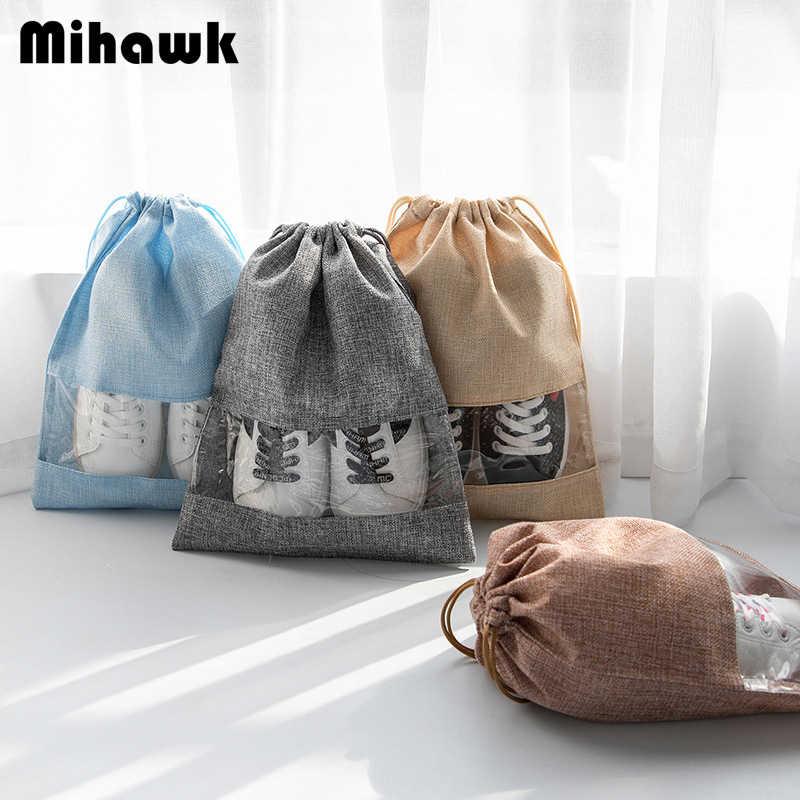 Mihawk 2 Pcs Set Sacos Das Mulheres Dos Homens de Roupas Íntimas De Viagem Portátil Sapato Tipo Tote Cosméticos de Higiene Pessoal Organizador Bolsa de Maquiagem Zíper