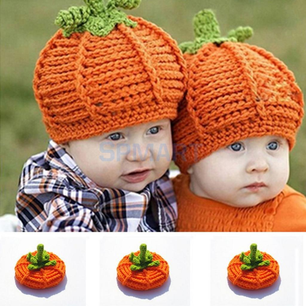 Crochet Baby Halloween Pumpkin Hats Knitted Toddler Photo Photography Props