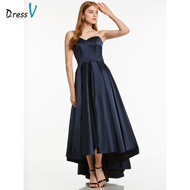 Dressv Dark Navy Long Evening Dress Cheap Strapless Ruched Sleeveless Wedding Party Formal Dress A Line Evening Dresses