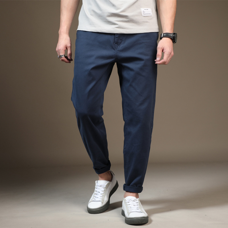 New 2019 Spring Summer Casual Pants Men Cotton Slim Fit Chinos Trousers Male Plus Size 28-48