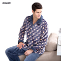BXMAN Brand Men's New Pijamas Hombre Homewear Sprots Suit Pajamas Polyester Geometric Full Sleeve Flannel Pajamas For Men 84