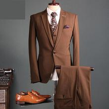 Fashion Dress Blazer Brown Men Suit Spring Autumn Outerwear Wedding Suit Groom Tuxedos Groomsman Suit Custom Made Man Suit 3 Pc