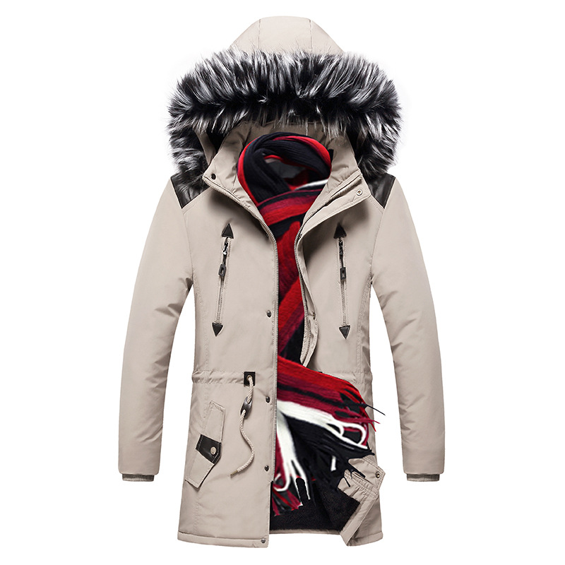 Winter cotton jacket New Warm Mens Winter   Parka   Jacket Thick Warm Fur Collar Long Jacket Men Windproof Hooded Fashion   Parka   Coat