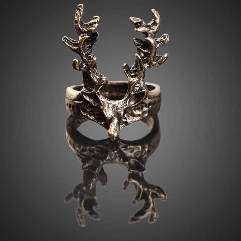 HOT! Vintage Deer Ring Retro Punk Women Palace Deer Index Finger cuff Rings Unique Design Halloween Accessories