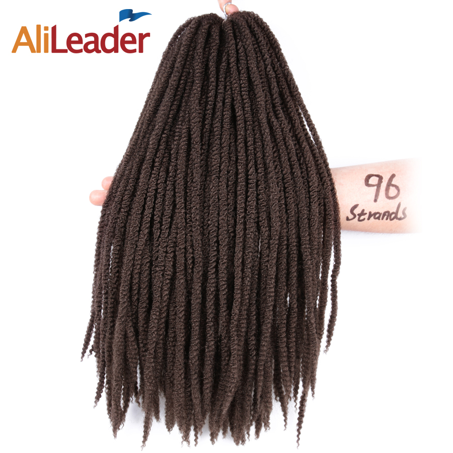 Alileader Afro Kinky Small Marley Hair Extensions 16 Inch 96 Strands/Pcs Crochet Braids Japanese Kanekalon Fiber Natural Braid