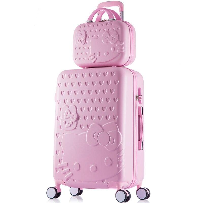 Корея моды девушка прекрасный ярких цветов багаж наборы на Универсальный колеса, высокое качество 14 22 дюймов ABS + PC багаж