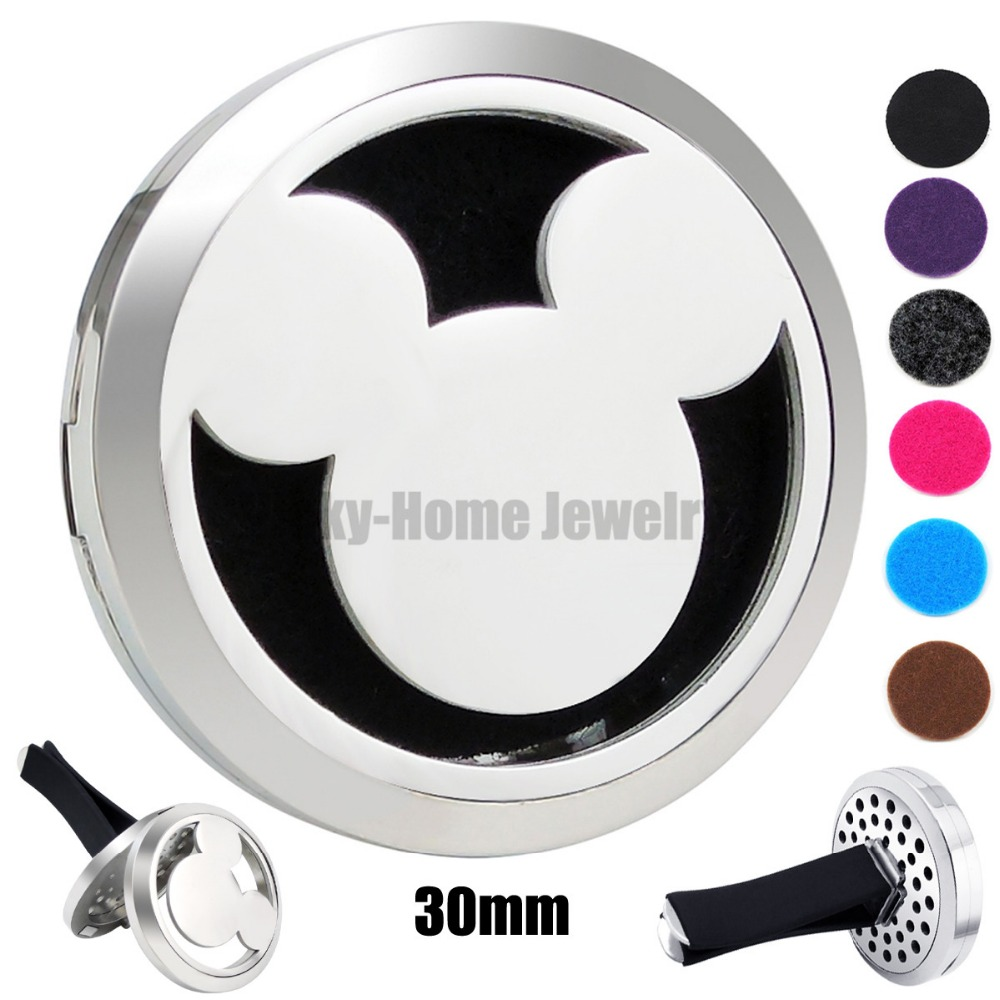 New Silver Mouse Cartoon (30mm) 316L Stainless Steel Aroma Car Perfume Locket Essential Oil Car Locket Free 6Pcs Pads