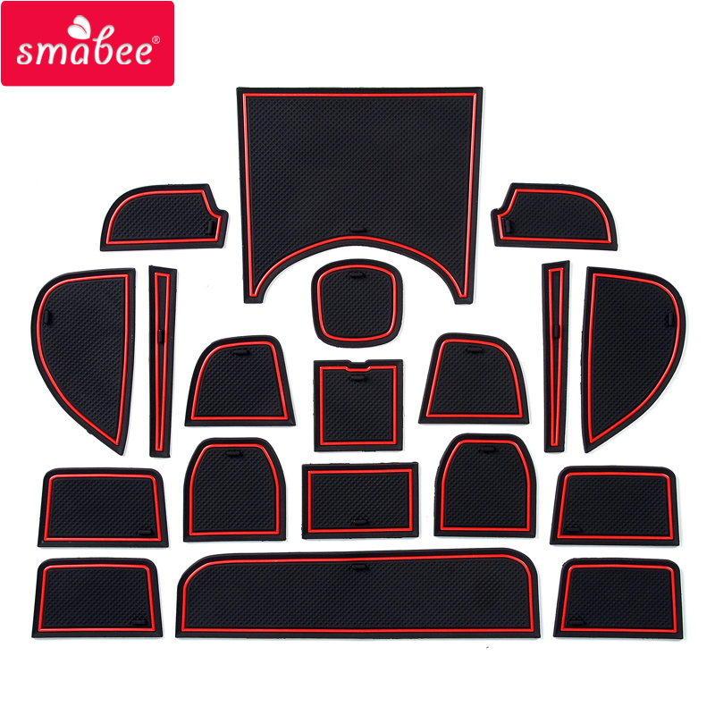 Smabee Gate Slot Mat For Honda HRV Vezel 2015 ~ 2019 HRV H RV 2016 2017 2018 Cup Non-slip Mats Accessories Stickers Car Styling