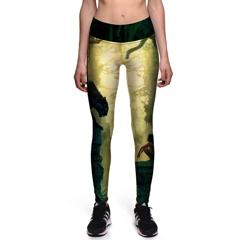 NEW 0053 Fashion Sexy Girl Women The Jungle Book Shere Khan 3D Prints High Waist Workout Fitness Women Leggings Jogger Pants