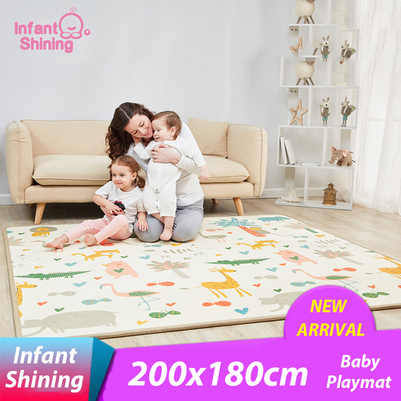 Infant Shining 2 Thickness Baby Play Mat 200 180cm Large Baby Climbing Mat Eco friendly EPE